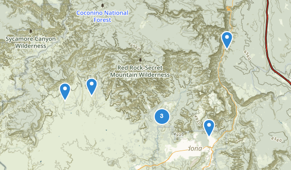 trail locations for Red Rock-Secret Mountain Wilderness