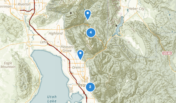 trail locations for Mount Timpanogos Wilderness
