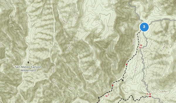 trail locations for San Mateo Canyon Wilderness