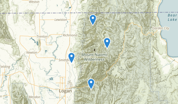 trail locations for Mount Naomi Wilderness