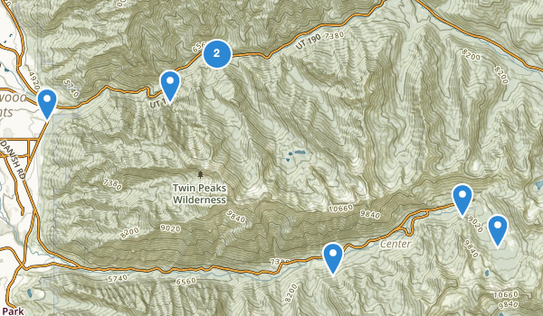 trail locations for Twin Peaks Wilderness