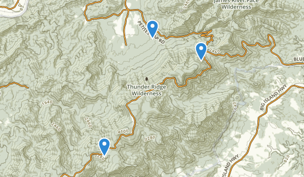 trail locations for Thunder Ridge Wilderness