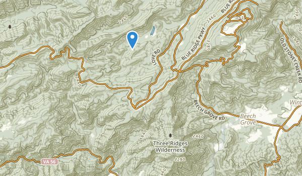 trail locations for Three Ridges Wilderness