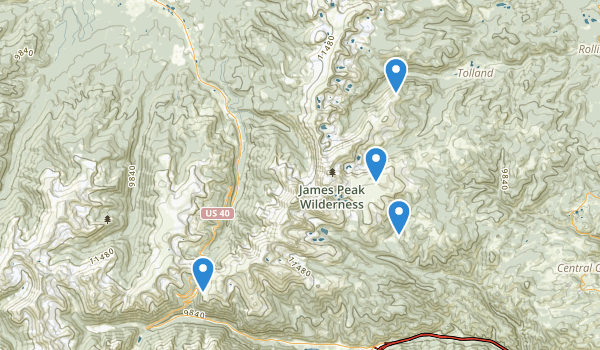 trail locations for James Peak Wilderness