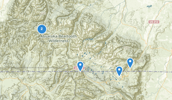 trail locations for Absaroka-Beartooth Wilderness