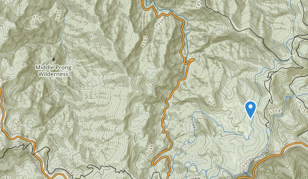 trail locations for Middle Prong Wilderness