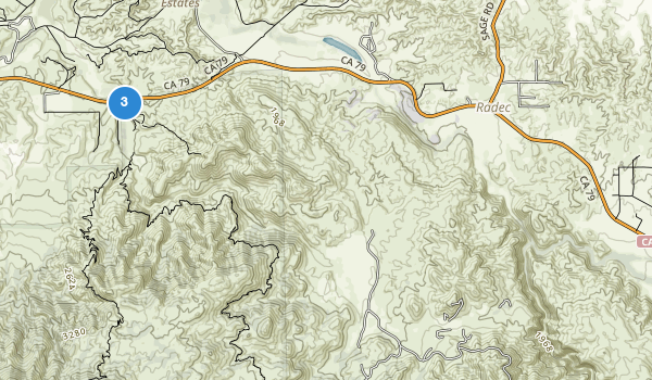 trail locations for Agua Tibia Wilderness