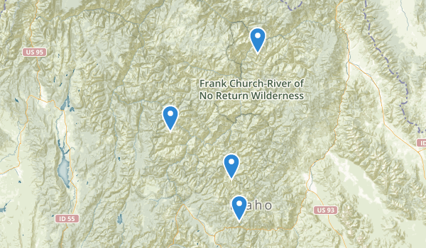 trail locations for Frank Church-River of No Return Wilderness