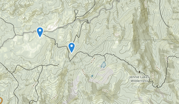 trail locations for Jennie Lakes Wilderness
