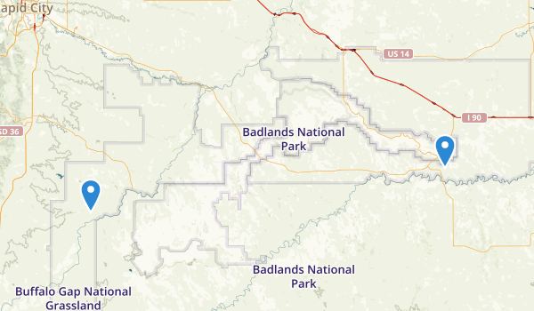 trail locations for Buffalo Gap National Grassland