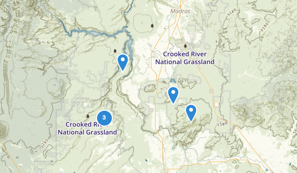 trail locations for Crooked River National Grassland