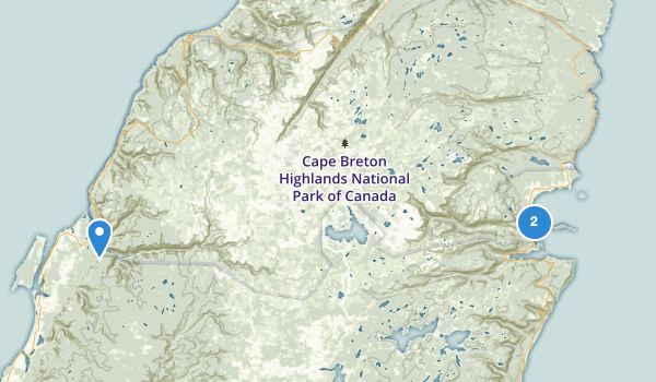 trail locations for Cape Breton Highlands National Park Of Canada