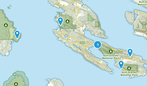 Islands Of Canada Map.Best Trails In Gulf Islands National Park Reserve Of Canada