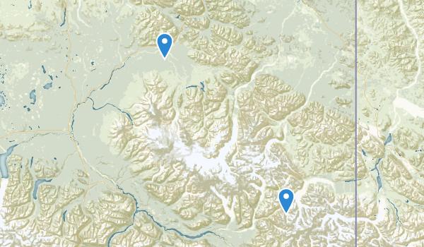 trail locations for Wrangell-St. Elias Preserve & Wilderness