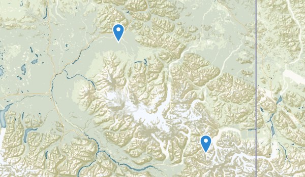 trail locations for Wrangell-St. Elias Preserve & Wilderness