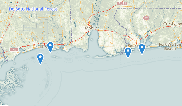 trail locations for Gulf Islands National Seashore