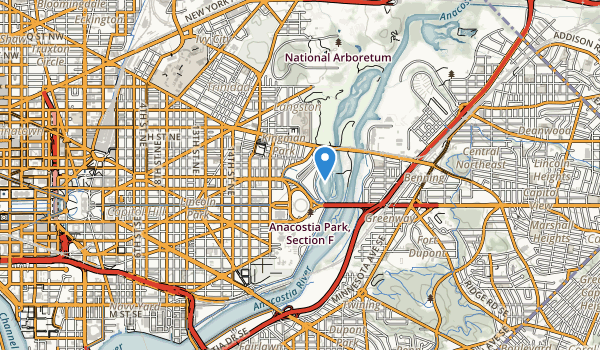 trail locations for Anacostia Park; Section F Park