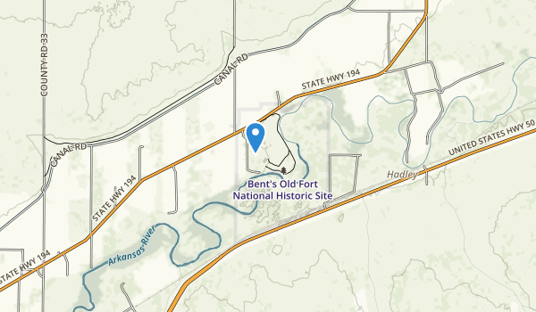 trail locations for Bent's Old Fort National Historic Site