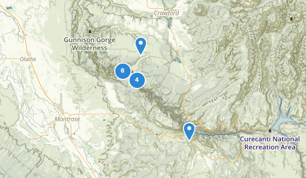 trail locations for Black Canyon of the Gunnison National Park