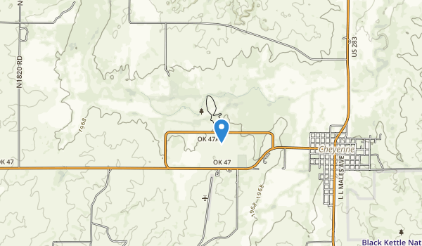 trail locations for Washita Battlefield National Historic Site