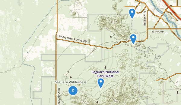 trail locations for Saguaro Wilderness