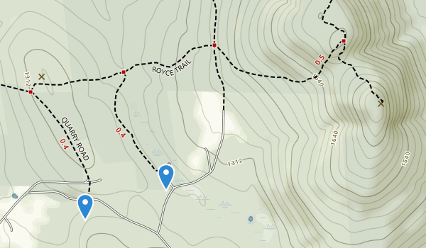 trail locations for Gap Mountain Reservation