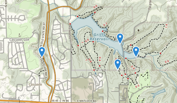 trail locations for Griffy Lake Nature Preserve