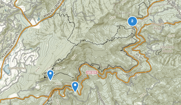 trail locations for Grandfather Mountain State Park
