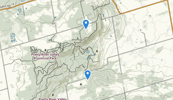 trail locations for Pretty River Valley Provincial Park