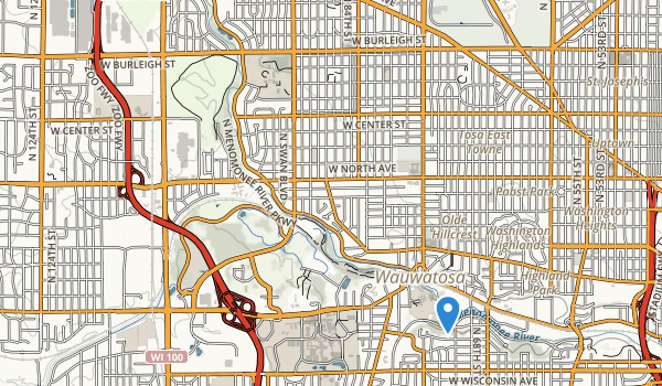 trail locations for Menomonee River Parkway