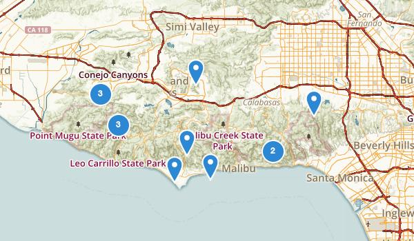 trail locations for Santa Monica Mtns Ntl Rec Area