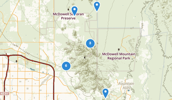 trail locations for McDowell Sonoran Preserve