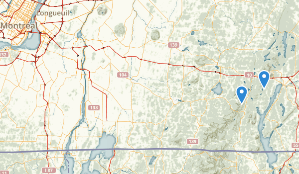 trail locations for Les Sentiers de l'Estrie inc.
