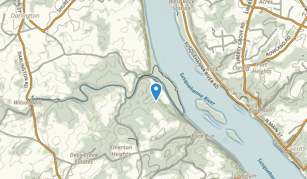 trail locations for Susquehanna State Park