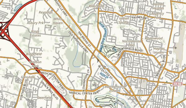trail locations for Murfreesboro Greenway