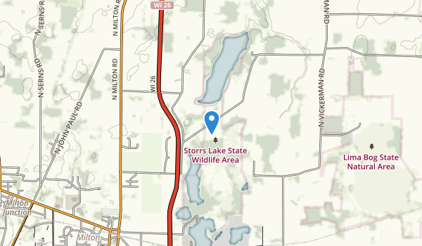 trail locations for Storrs Lake State Wildlife Area
