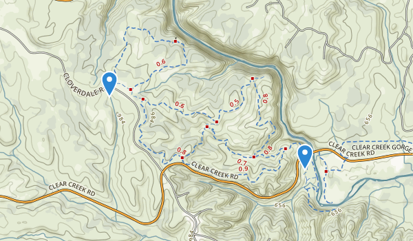 trail locations for Horsetown Clear Creek Preserve