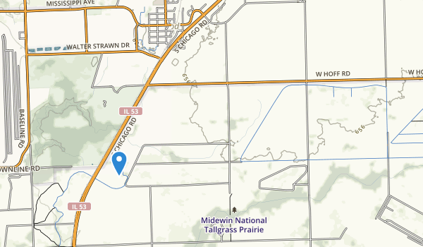 trail locations for Midewin National Tallgrass Prairie