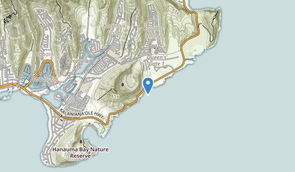 trail locations for Sandy Beach Park, Oahu