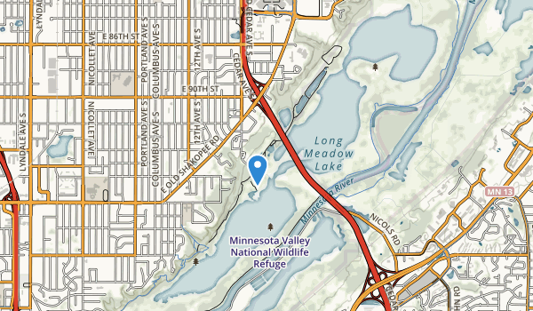 trail locations for Minnesota Valley National Wildlife Refuge