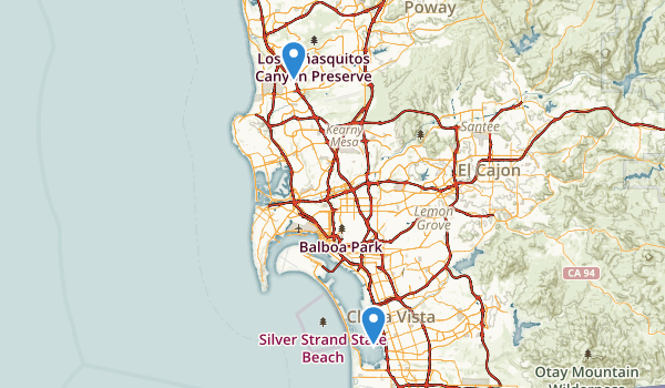 trail locations for San Diego Bay National Wildlife Refuge