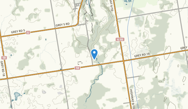 trail locations for Inglis Falls Conservation Area