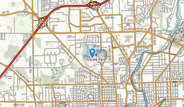 trail locations for J.B. Franke Park