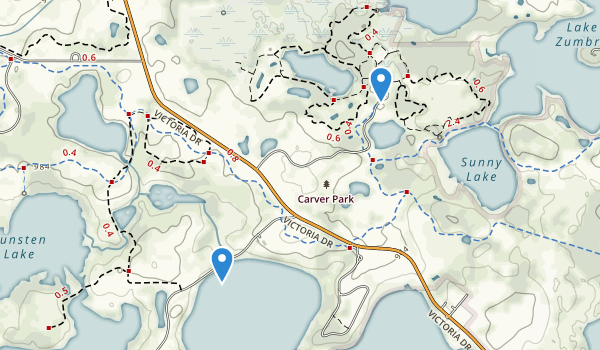 trail locations for Carver Park Reserve