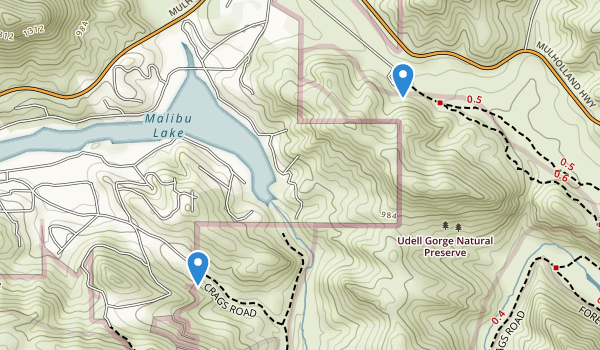trail locations for Udell Gorge Natural Preserve
