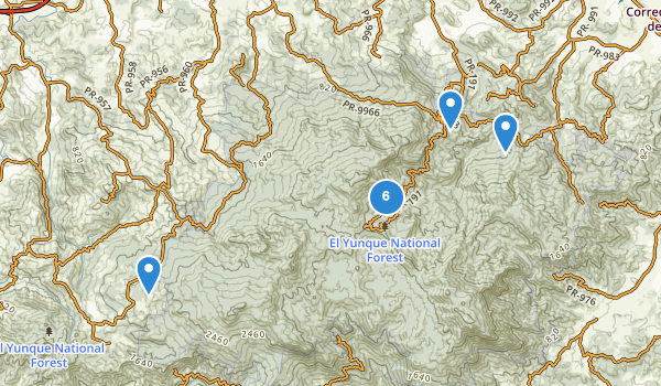 trail locations for Ei Yunque National Forest