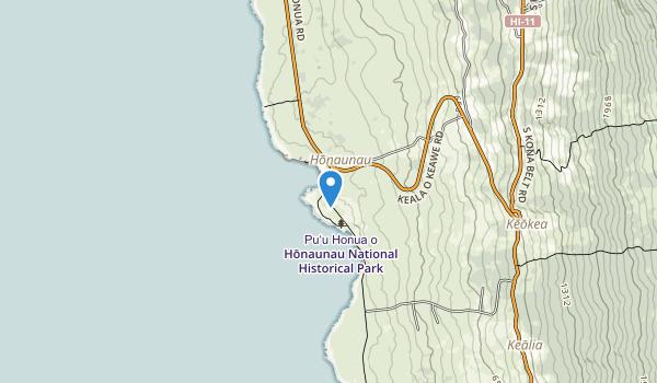 trail locations for Pu'uhonua o Hōnaunau National Historical Park