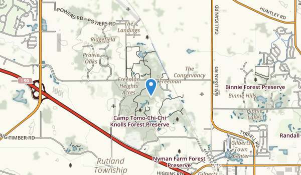 Camp Tomo-Chi-Chi Knolls Forest Preserve Map