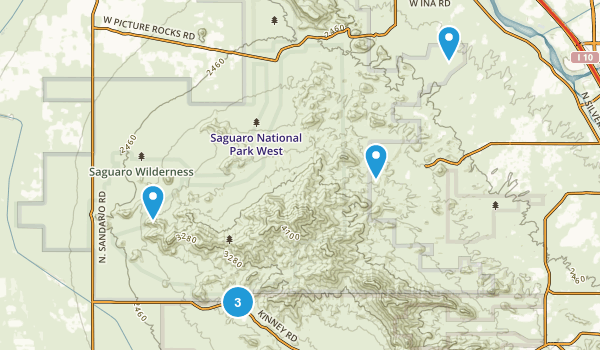 Saguaro National Park (West) - Tucson Mountain District Map