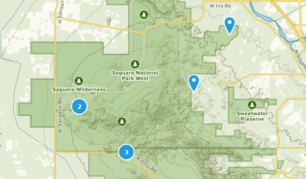 Saguaro National Park (West) - Tucson Mountain District Map